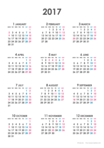 2017年シンプルカレンダー(年間・たて/A4)【無料ダウンロード】