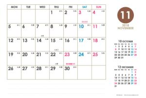2018年11月|シンプルカレンダー(横1ヶ月/ポストカード)