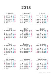 2018年シンプルカレンダー(年間・たて/ポストカード100×148mm)【無料ダウンロード】