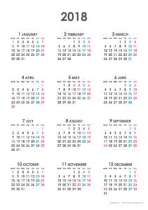 2018年シンプルカレンダー(年間・たて/A4)
