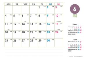2018年6月|シンプルカレンダー(横1ヶ月/ポストカード)