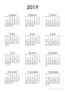 2019年シンプルカレンダー(年間・たて/A4)