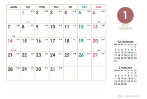 2019年1月 · 2019年1月|シンプルカレンダー(横1ヶ月/ポストカード)