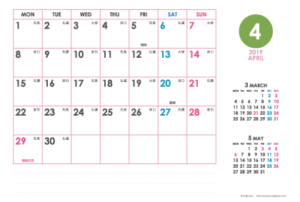 2019年4月|シンプルカレンダー(横1ヶ月/ポストカード)