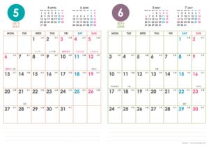 2019年5・6月|シンプルカレンダー(縦2ヶ月/A4)