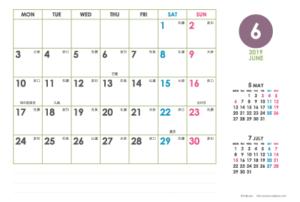 2019年6月|シンプルカレンダー(横1ヶ月/ポストカード)