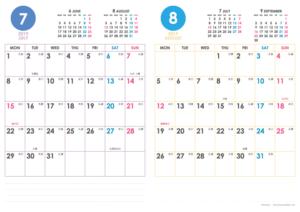 2019年7・8月|シンプルカレンダー(縦2ヶ月/A4)