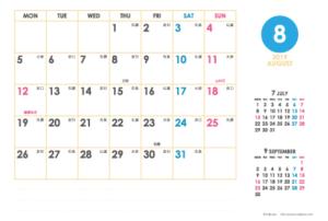 2019年8月|シンプルカレンダー(横1ヶ月/ポストカード)