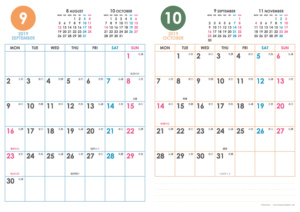 2019年9・10月|シンプルカレンダー(縦2ヶ月/A4)