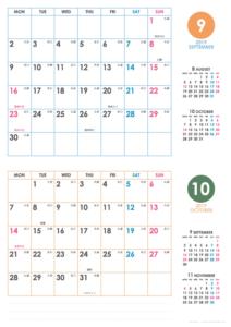 2019年9・10月|シンプルカレンダー(横2ヶ月/A4)