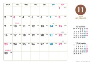 2020年11月|シンプルカレンダー(横1ヶ月/ポストカード)