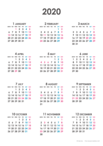 2020年シンプルカレンダー(年間・たて/A4)