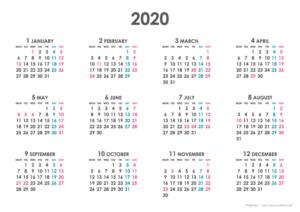 2020年シンプルカレンダー(年間・よこ/A4)