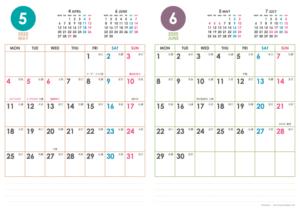 2020年5・6月|シンプルカレンダー(縦2ヶ月/A4)