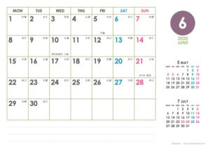 2020年6月|シンプルカレンダー(横1ヶ月/A4)