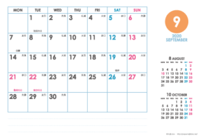 2020年9月|シンプルカレンダー(横1ヶ月/ポストカード)