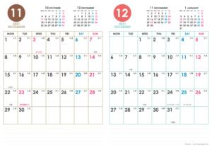 2021年11・12月|シンプルカレンダー(縦2ヶ月/A4)