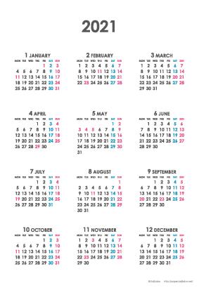 2021年シンプルカレンダー(年間・たて/ポストカード100×148mm)【無料ダウンロード】
