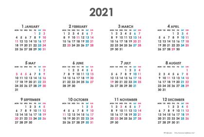 2021年シンプルカレンダー(年間・よこ/ポストカード148×100mm)【無料ダウンロード】