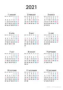 2021年シンプルカレンダー(年間・たて/A4)