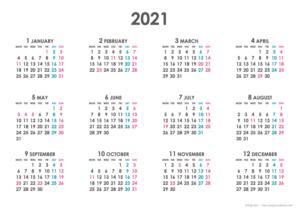 2021年シンプルカレンダー(年間・よこ/A4)
