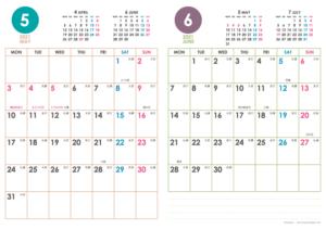 2021年5・6月|シンプルカレンダー(縦2ヶ月/A4)