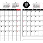 2019年ゴシックカレンダー(縦2ヶ月/A4) UPしました。