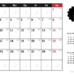 2019年ゴシックカレンダー(横1ヶ月/A4) UPしました。