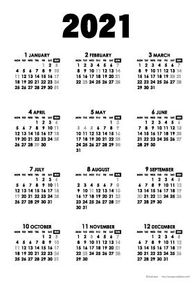 2021年モノトーンカレンダー(年間・たて/ポストカード100×148mm)【無料ダウンロード】