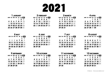 2021年モノトーンカレンダー(年間・よこ/ポストカード148×100mm)【無料ダウンロード】