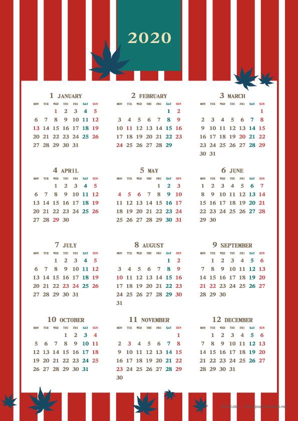 カレンダー 2020 年 年間