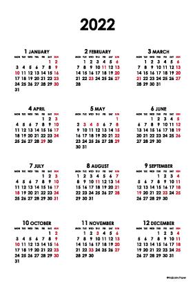 2022年シンプルカレンダー(年間・たて/ポストカード100×148mm)【無料ダウンロード】