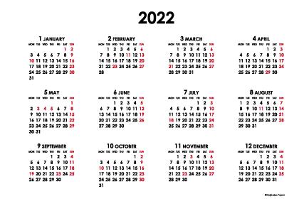 2022年シンプルカレンダー(年間・よこ/ポストカード148×100mm)【無料ダウンロード】