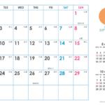 2019年シンプルカレンダー(横1ヶ月/A4) UPしました。