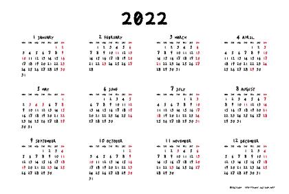 2022年手書き風カレンダー(年間・よこ/ポストカード148×100mm)【無料ダウンロード】